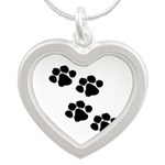 Animal Paw Prints Silver Heart Necklace