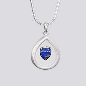 Police Serving Proudly Silver Teardrop Necklace