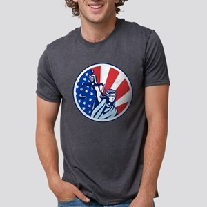 American Lady Holding Scale Mens Tri-blend T-Shirt