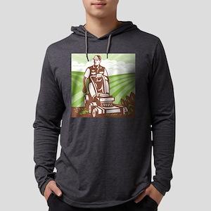 Gardener Landscaper Riding Lawn  Mens Hooded Shirt