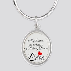 My Sister, my Angel Silver Oval Necklace
