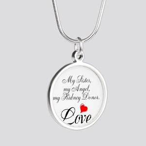 My Sister, my Angel Silver Round Necklace