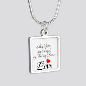 My Sister, my Angel Silver Square Necklace