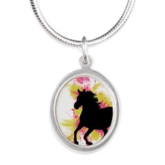Running Horse Silver Oval Necklace
