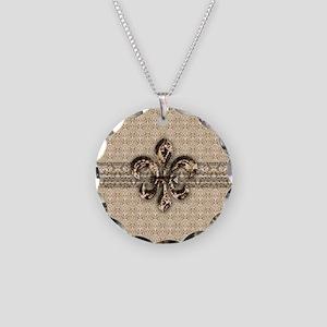 Golden Damask Fleur De Lis Necklace Circle Charm