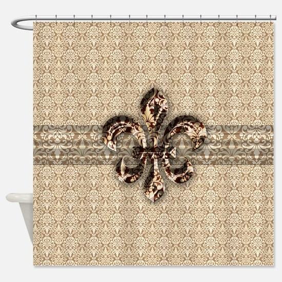 Golden Damask Fleur De Lis Shower Curtain