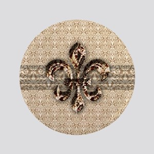 """Golden Damask Fleur De Lis 3.5"""" Button"""