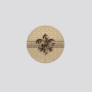Golden Damask Fleur De Lis Mini Button