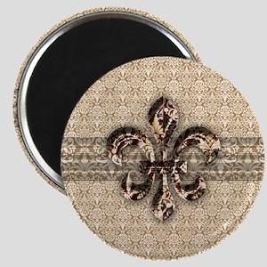 Golden Damask Fleur De Lis Magnet