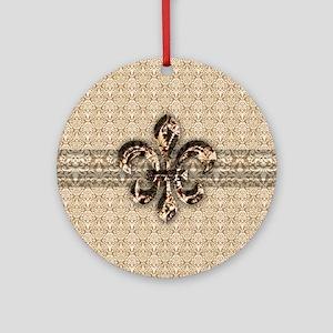 Golden Damask Fleur De Lis Ornament (Round)