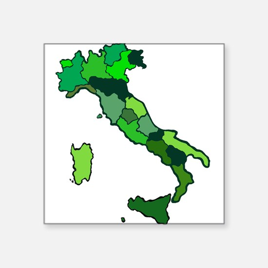 "Map of Italy Square Sticker 3"" x 3"""