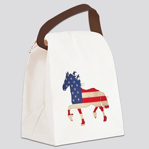 American Flag Friesian Horse Canvas Lunch Bag
