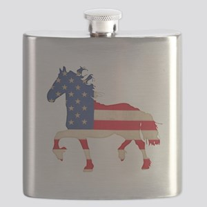 American Flag Friesian Horse Flask