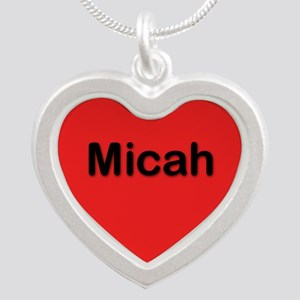 Micah Red Silver Heart Necklace