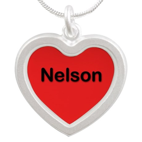 Nelson Red Silver Heart Necklace