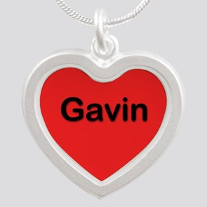 Gavin Red Silver Heart Necklace