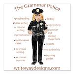 Grammar Police Square Car Magnet 3