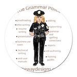 Grammar Police Round Car Magnet
