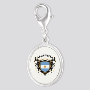 Argentina Silver Oval Charm