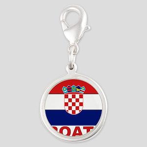 croatia_b Silver Round Charm