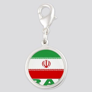 iran_b Silver Round Charm