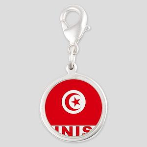 tunisia_b Silver Round Charm