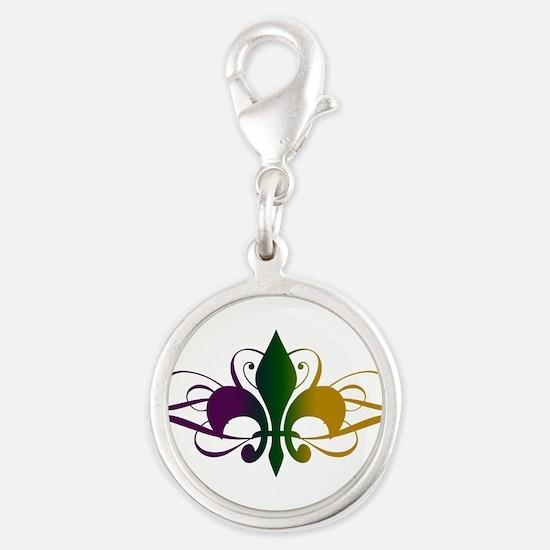 fleur-de-lis-swirls_color.png Silver Round Charm