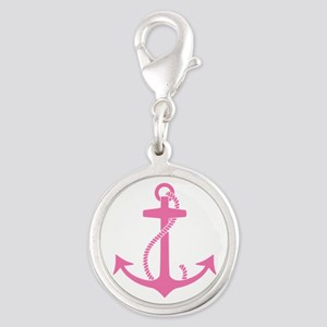 Pink Anchor Silver Round Charm