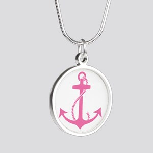 Pink Anchor Silver Round Necklace