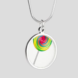 lollipop Silver Round Necklace