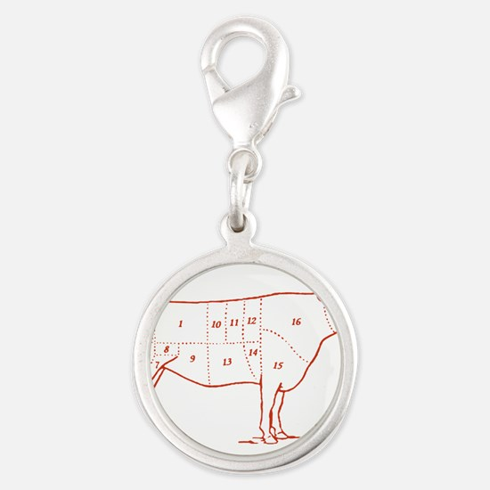 beef-cuts-retro.png Silver Round Charm