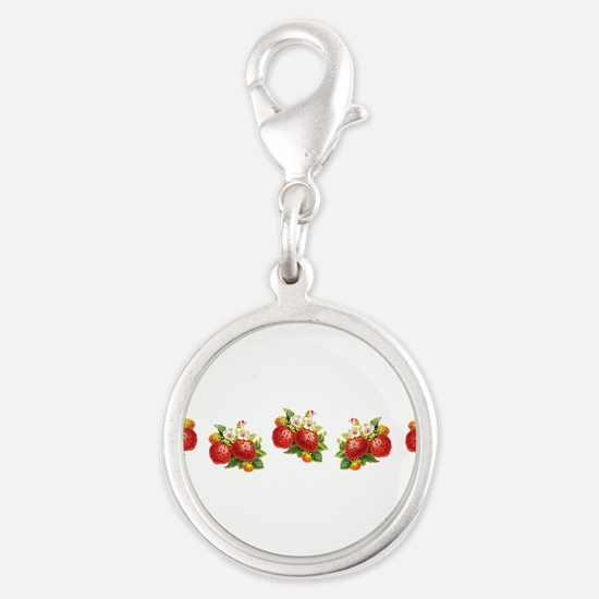 Row of Retro Strawberries Silver Round Charm