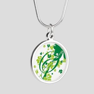 SHAMROCK-SWIRL Silver Round Necklace