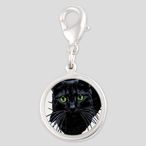 black-kitty Silver Round Charm