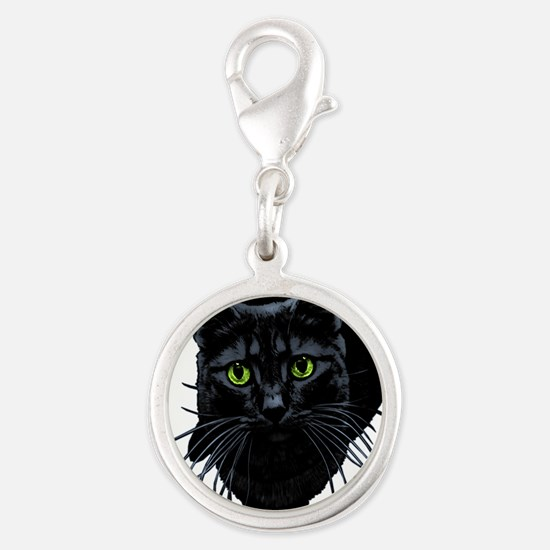 black-kitty.png Silver Round Charm