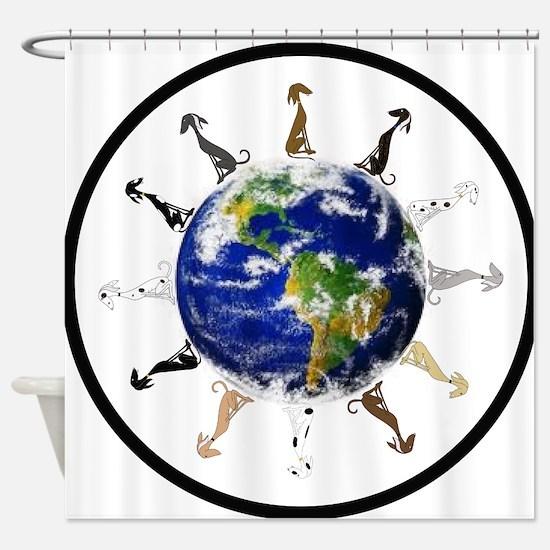 Greyhound around the world! Shower Curtain