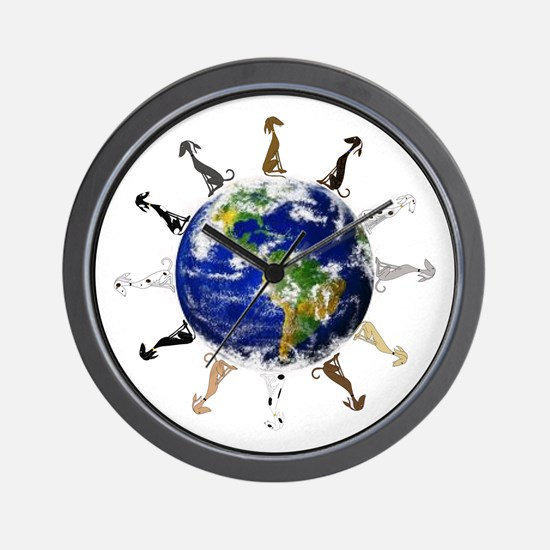 Greyhound around the world! Wall Clock