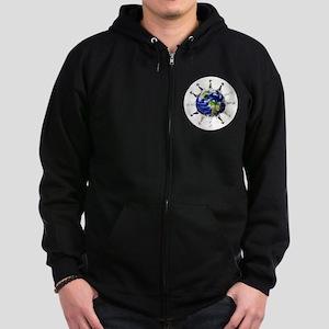 Greyhound around the world! Zip Hoodie (dark)