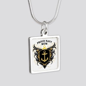 Proud Navy Mom Silver Square Necklace