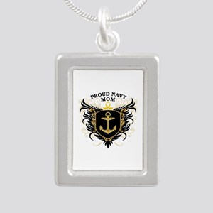 Proud Navy Mom Silver Portrait Necklace