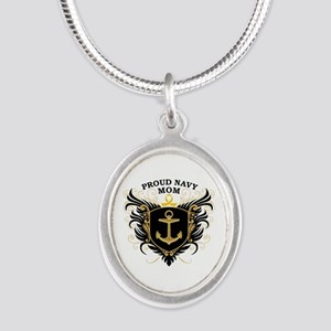 Proud Navy Mom Silver Oval Necklace