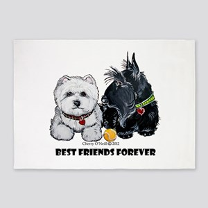 Westie Scottie Best Friends 5'x7'Area Rug
