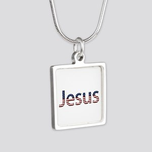 Jesus Stars and Stripes Silver Square Necklace