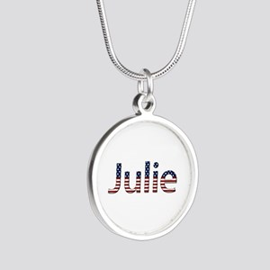 Julie Stars and Stripes Silver Round Necklace