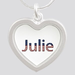 Julie Stars and Stripes Silver Heart Necklace