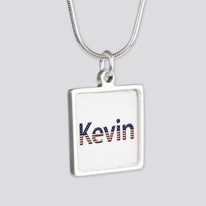 Kevin Stars and Stripes Silver Square Necklace