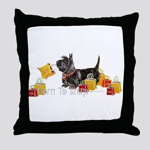 Scottie Shopping Throw Pillow