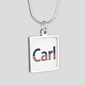 Carl Stars and Stripes Silver Square Necklace