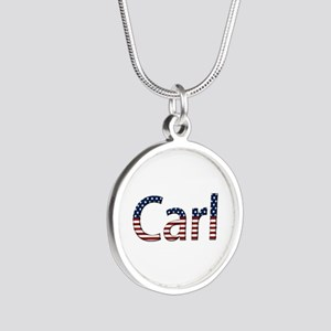 Carl Stars and Stripes Silver Round Necklace