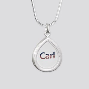 Carl Stars and Stripes Silver Teardrop Necklace